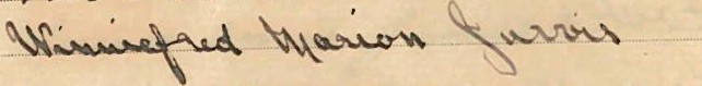 Winnifred's signature - she was left handed