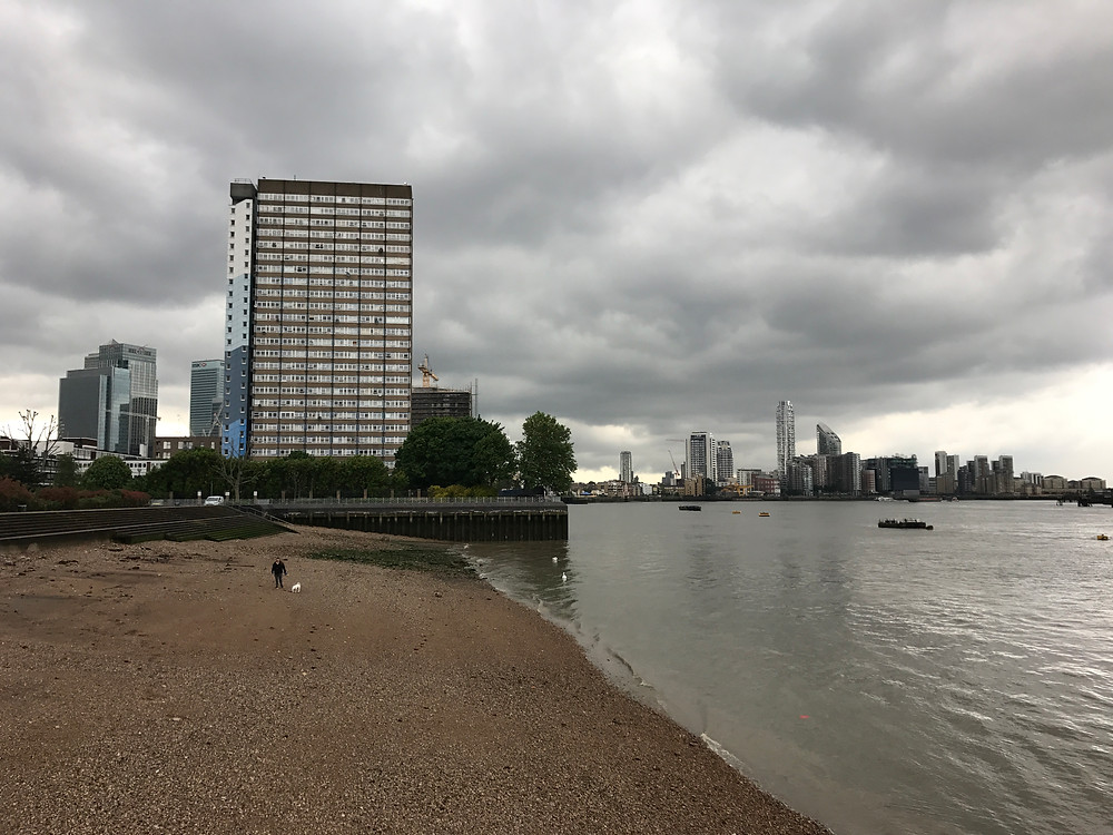 The Samuda Yard stood where this beach and the tower block stands.