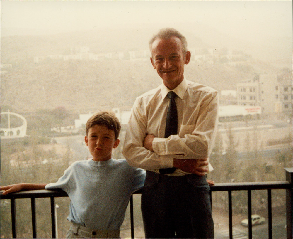 Dad with my brother Andy in the late 1980s.