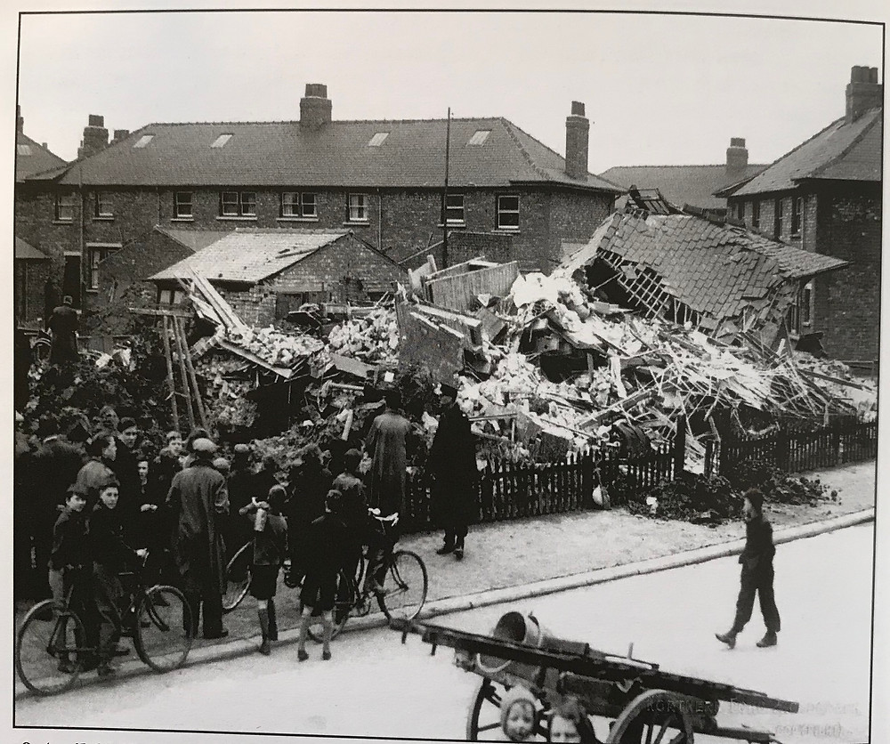The destroyed house on Palmister Avenue following the air raid on April 8 1941.