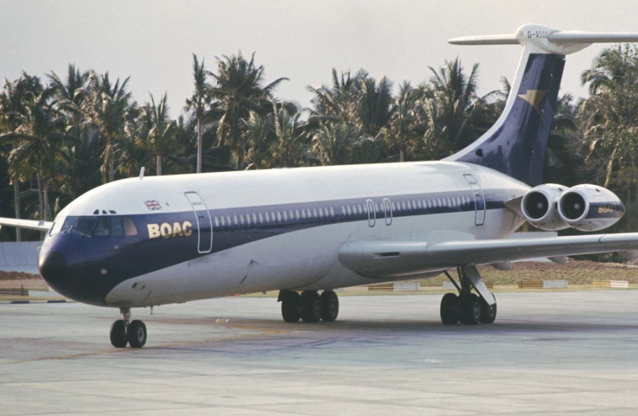 The BOAC VC-10 on the tarmac in Bah