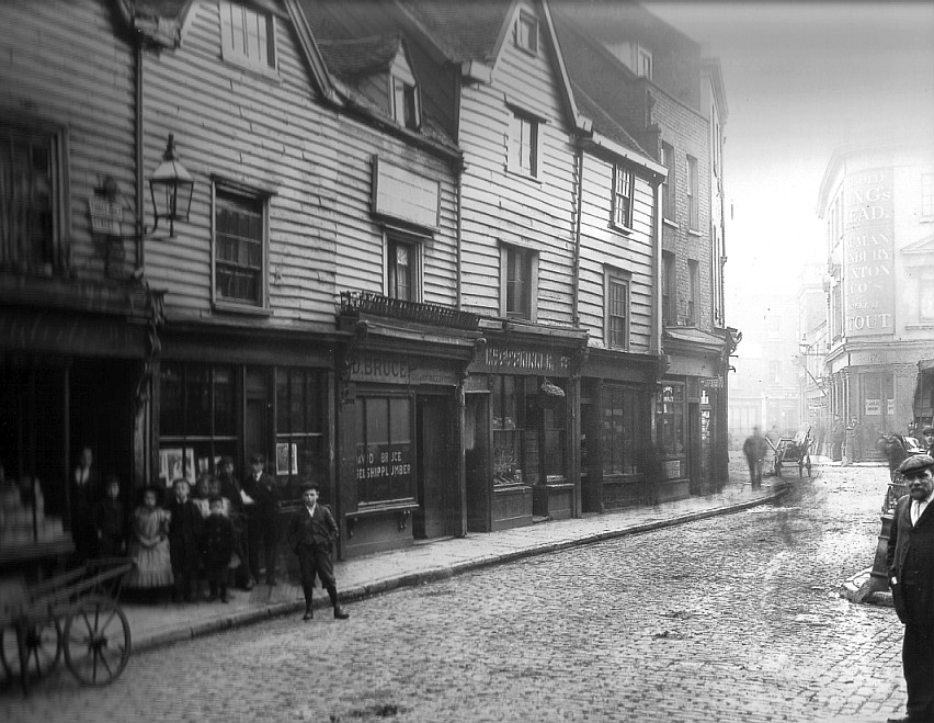 Three Colt Street circa 1900.  Note the gas lamps.