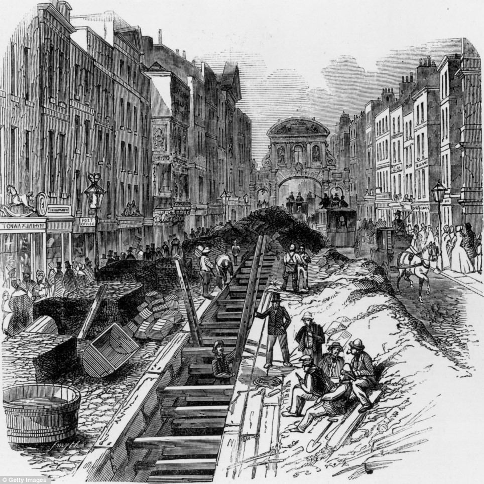 Construction of the new sewer system on Fleet Street in 1845.