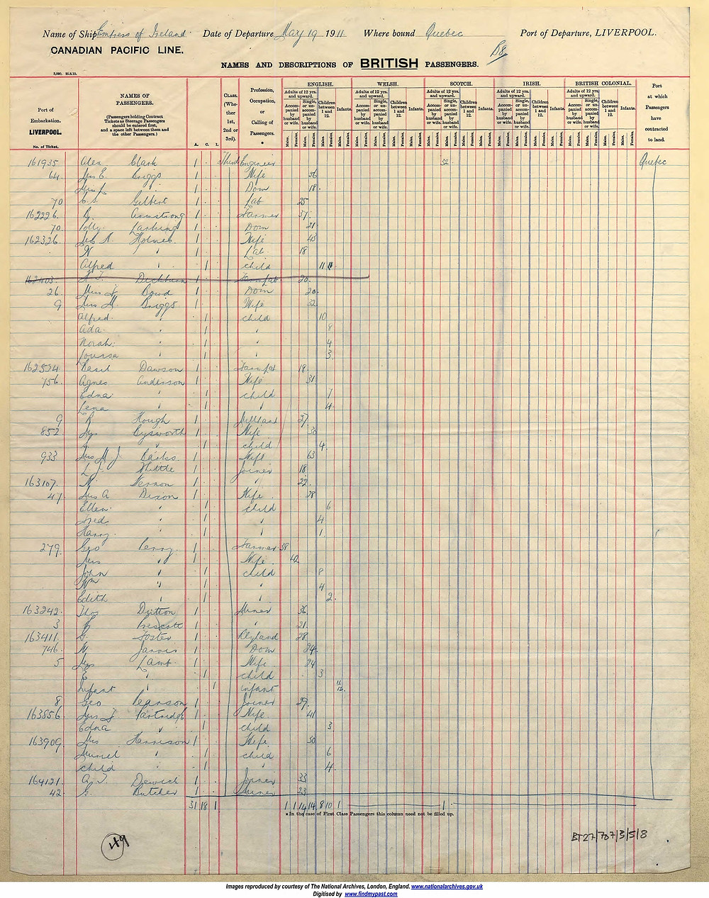 The departing passenger list for the Empress of Ireland ship on May 19th 1911.  Winifred Marion Jarvis is 3/4 of the way down the page.