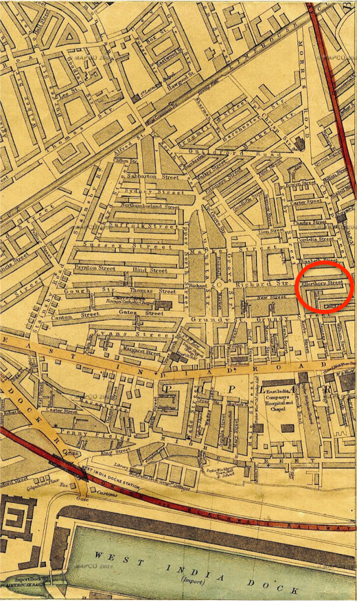 1860 map of Ellerthorpe Street (circled), Poplar, where the Jarvis family lived from in 1860-1861.