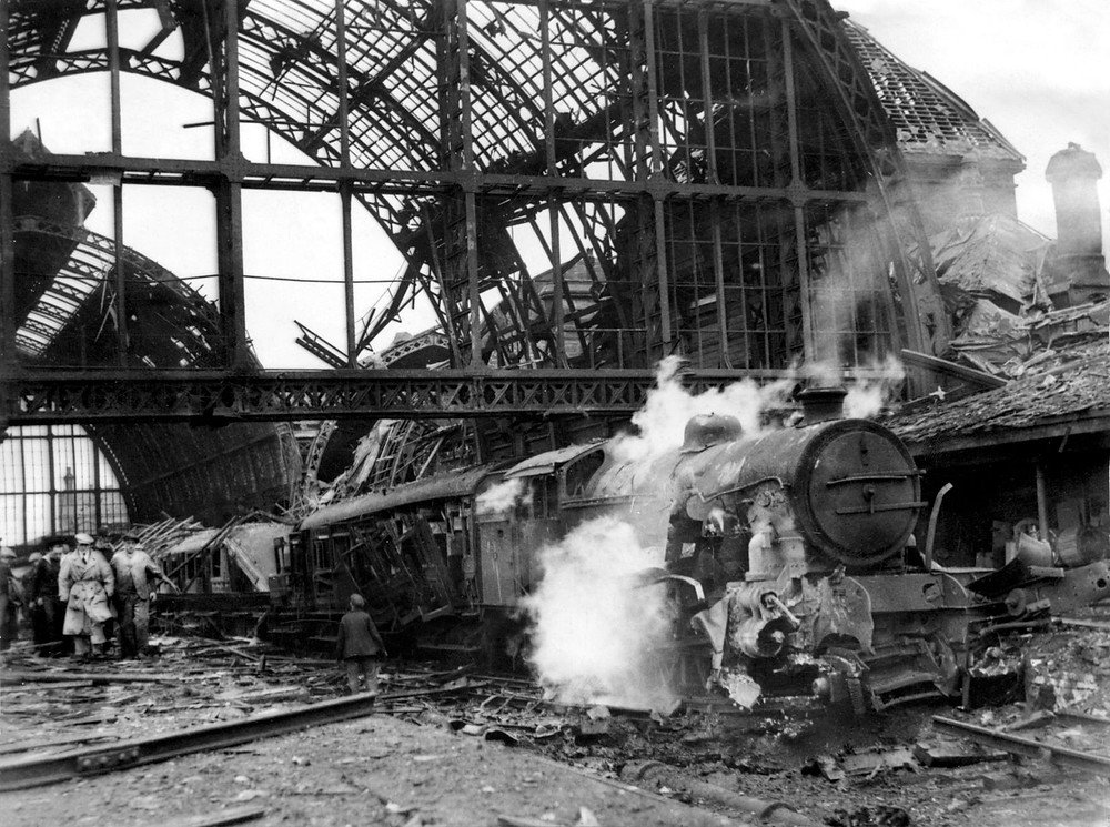 This was the scene at Middlesbrough Railway Station five minutes after the bomb struck.
