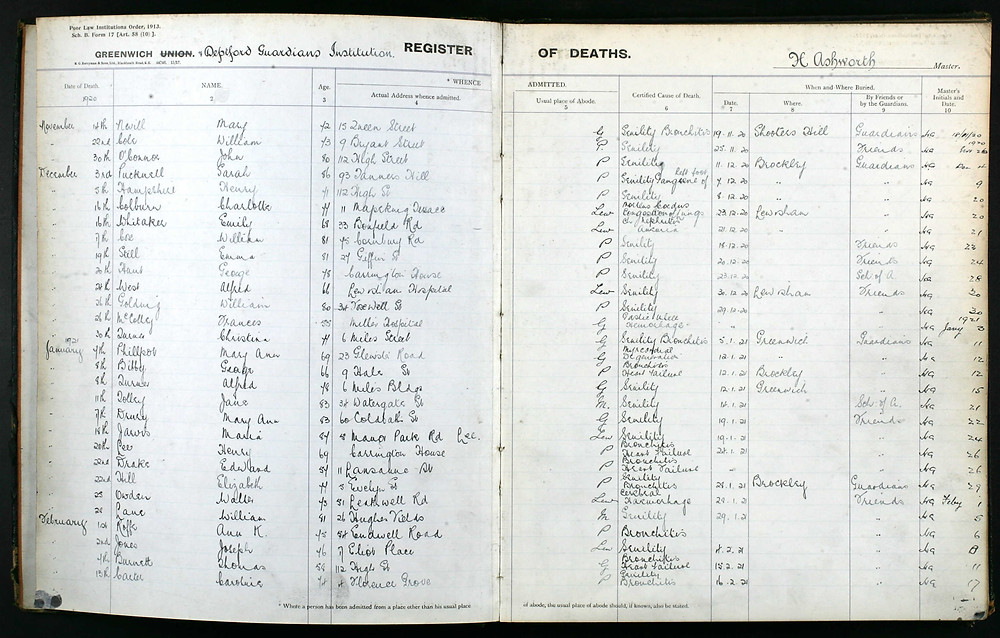 Deptford Guardians Institution record of Maria's death - she is about 2/3rds down the page.