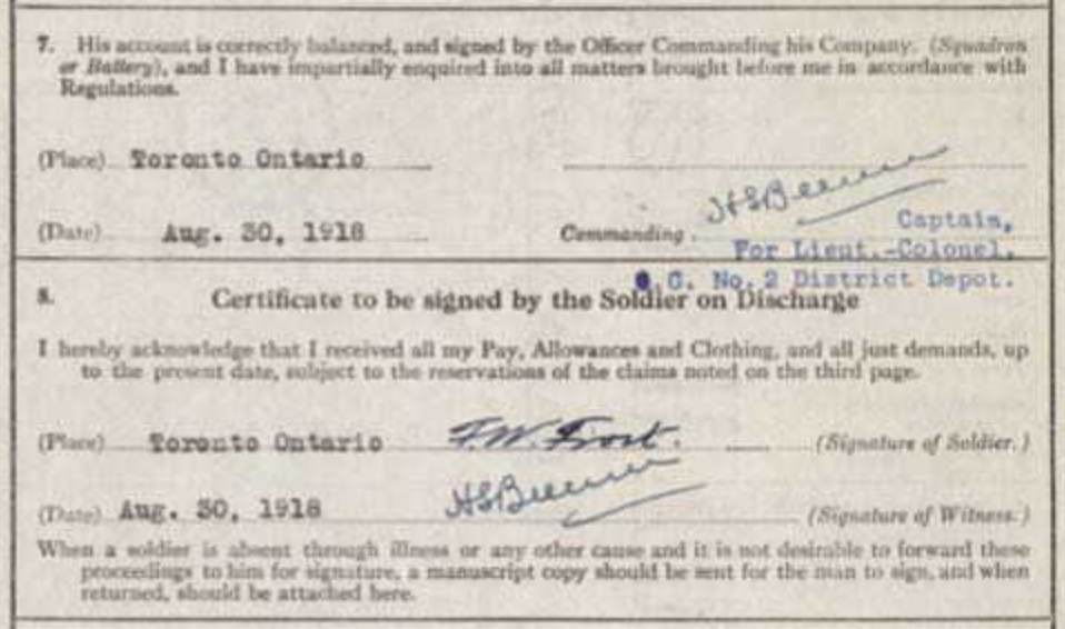Frederick William Frost's signature on his discharge papers