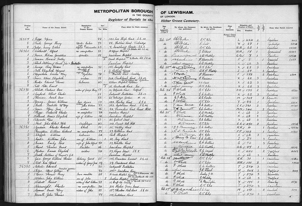 The burial book for Hither Green Cemetery.  Maria Hopps is the first entry.