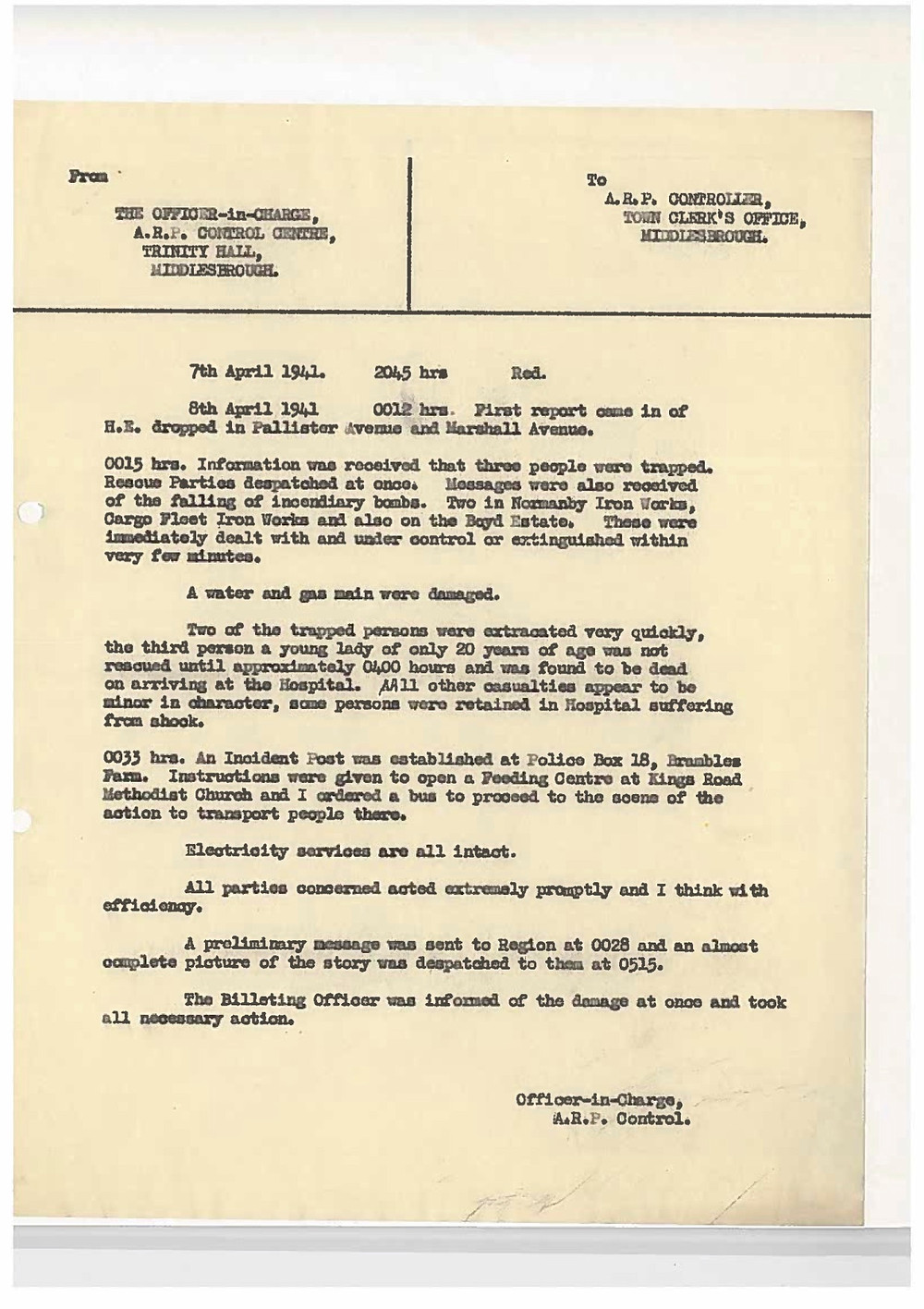 The incident report detailing the bombing on Pallister Avenue April 8 1941