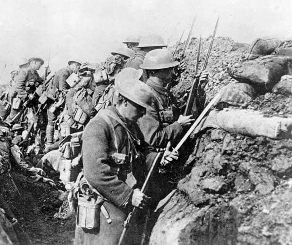 The Canadian Expeditionary Force in their trench at Ancre