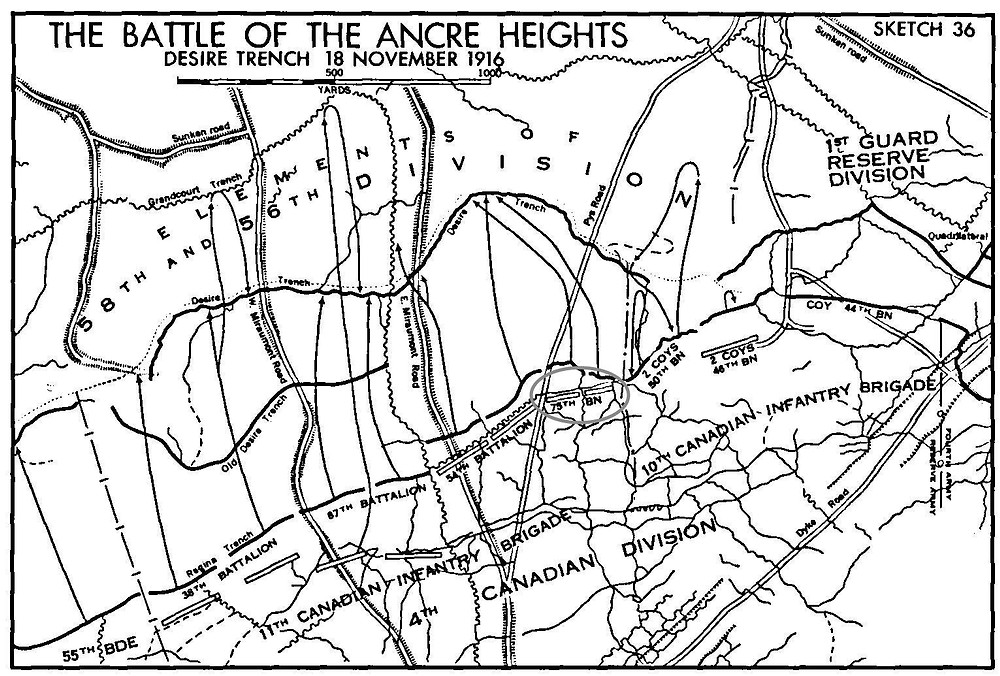 Battalion positions in the Battle of Ancre Heights.  The 75th Battalion is just right of center (circled)