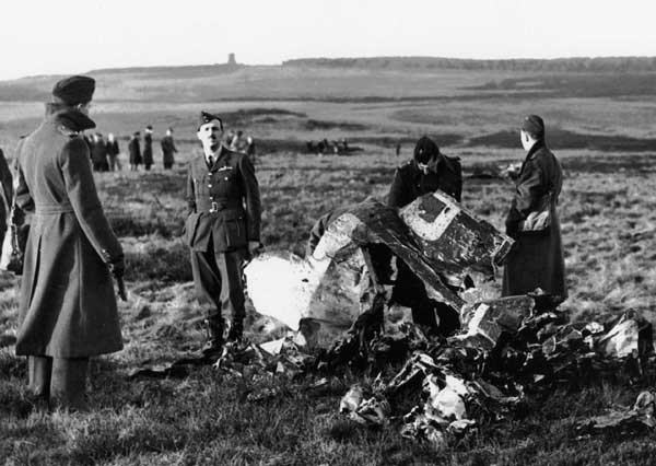 The wreckage of the German Junkers JU88 which was shot down on Barnaby Moor