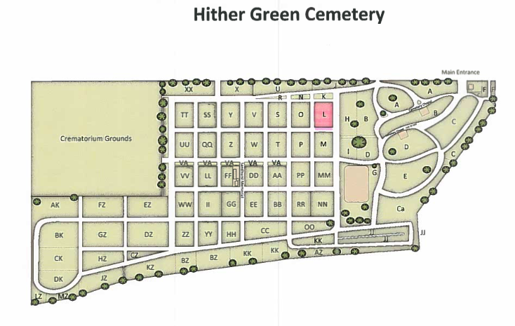 Hither Green Cemetery - The Hopps plot is in the highlighted pink section
