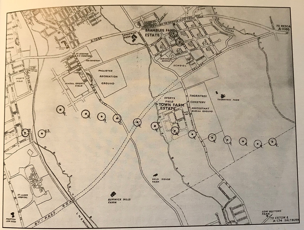 The circles denote where the bombs were dropped in the air raid of April 8 1941.