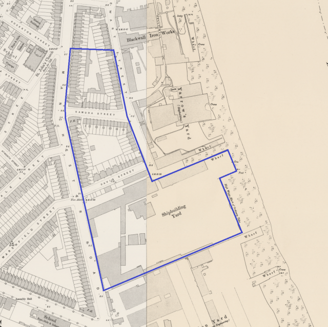 The blue line shows where the Samuda Shipyard was located.