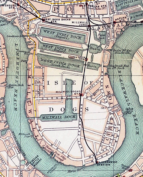 """The Samuda Shipyard was on the Blackwall Reach of the Thames, where the """"n"""" of """"Cubitt Town"""" is on the map."""