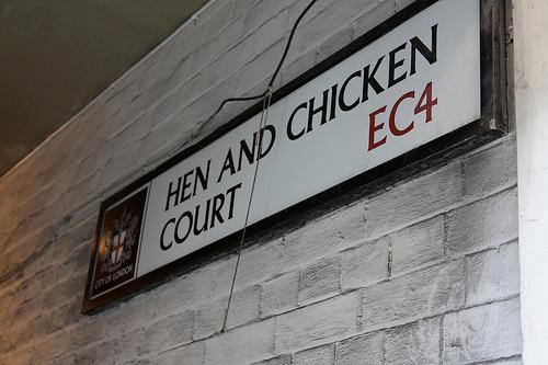 Hen And Chicken Court Today.  A narrow alleyway off Fleet Street