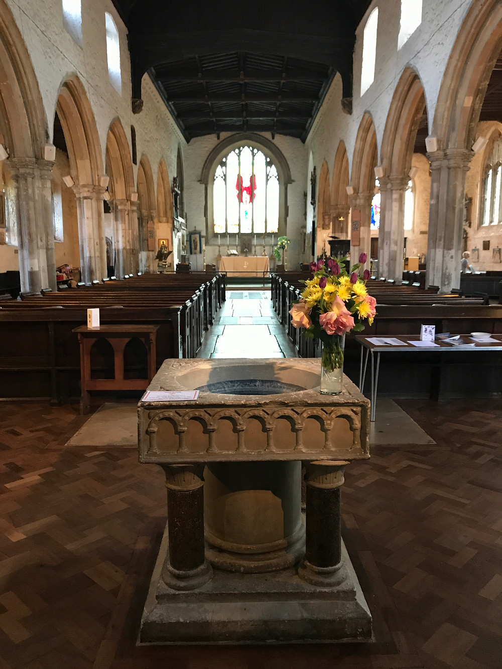 The baptism bowl at St Dunstans In The East.  Charles Robert Owen Jarvis was baptized here.