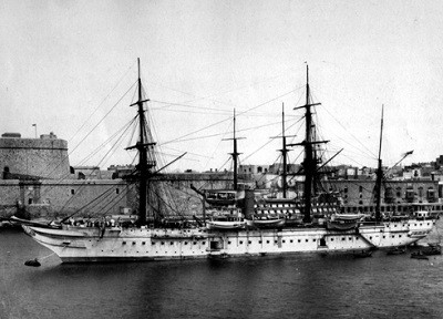 Samuda constructed HMS Tamar in 1863, seen here docked by the Samuda yard.