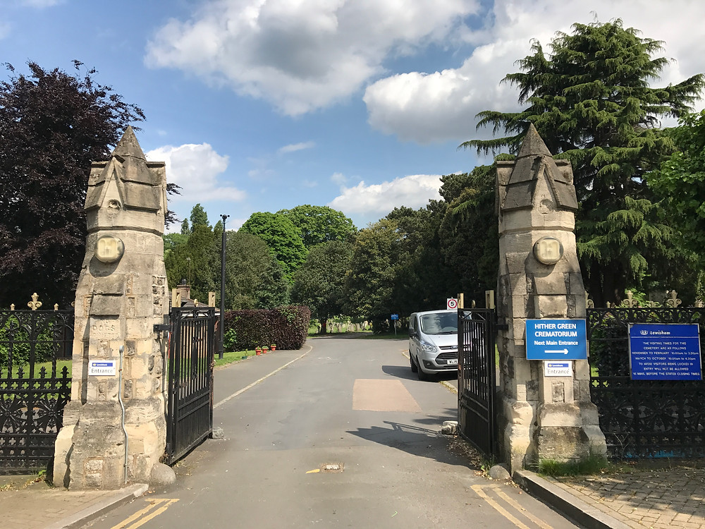 The main gates of Hither Green Cemetery