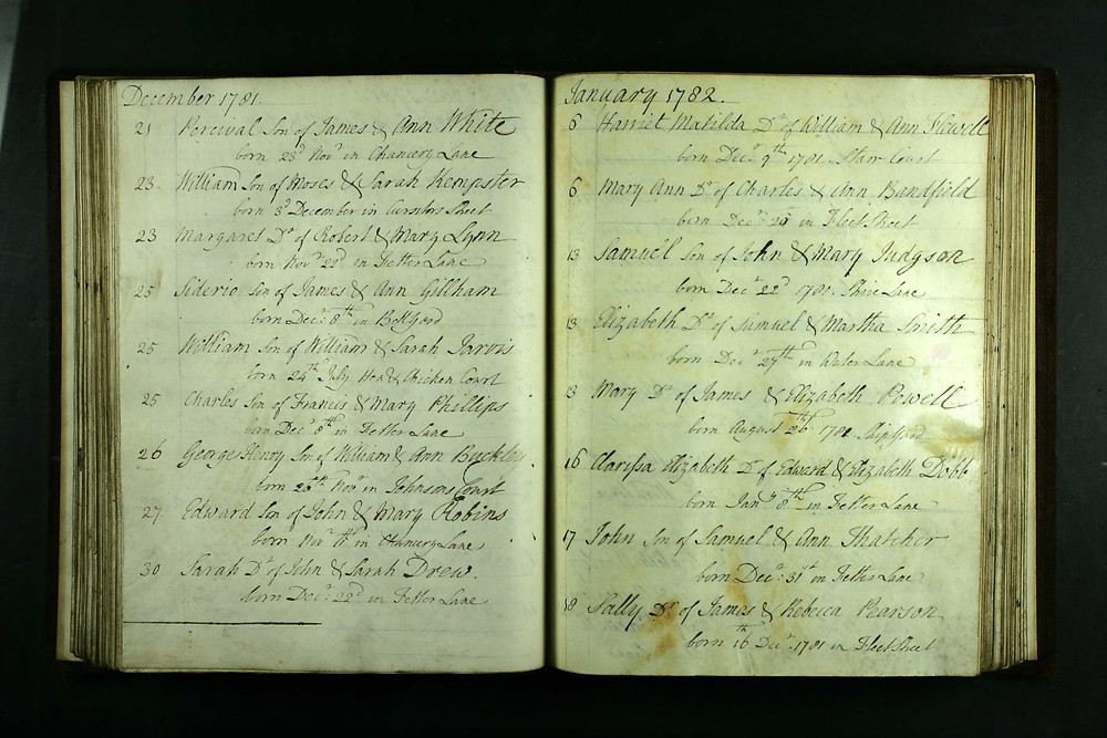 The baptism entry for William Jarvis, born 1781