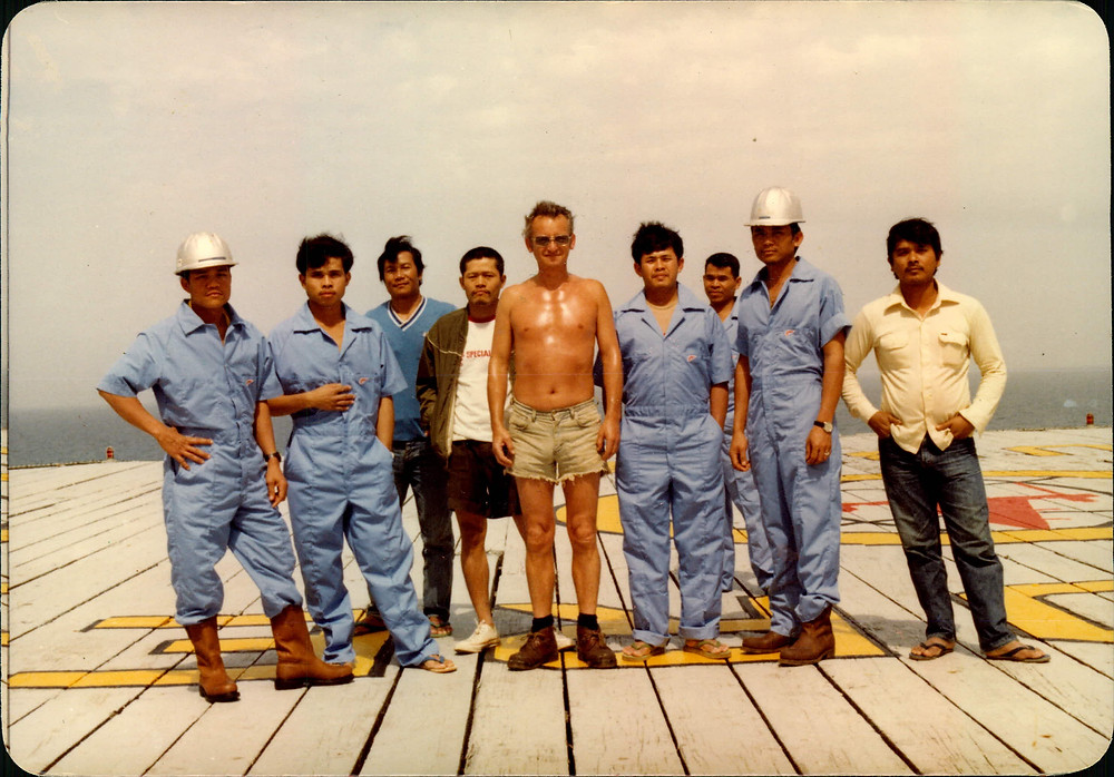 Dad with his crew in India.