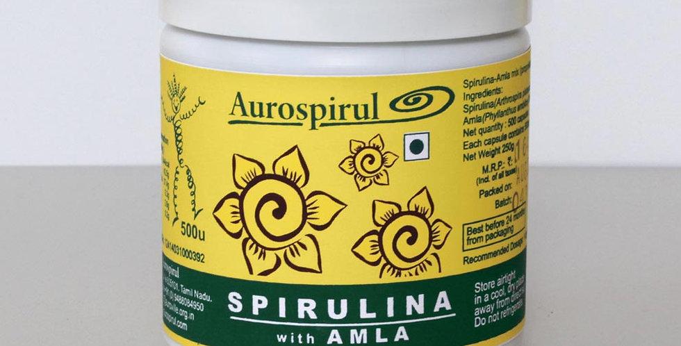 Aurospirul Sun-Dried Spirulina - Amla - 500 Veg Capsules
