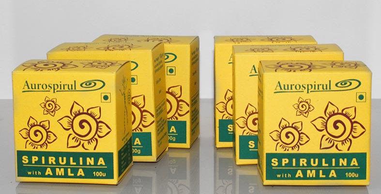 Aurospirul Sun dried spirulina amla veg capsules 6-pack - 6 x 100 capsules