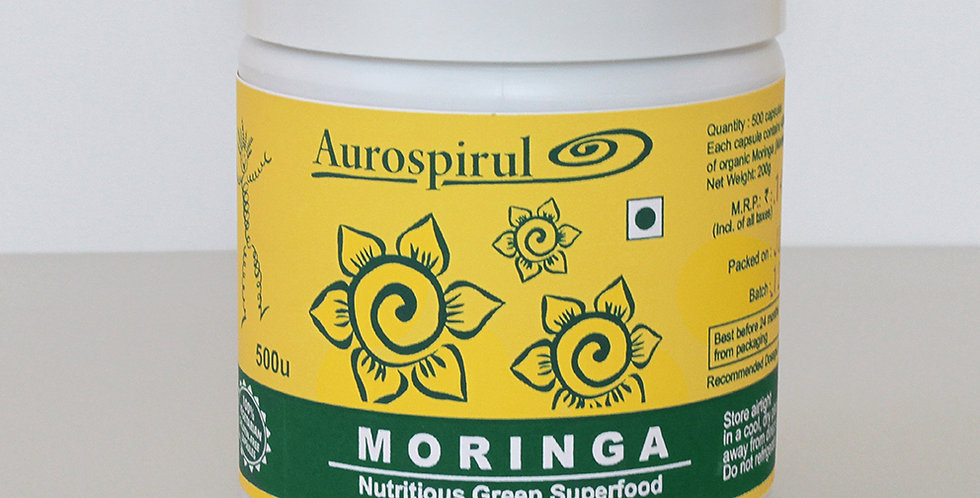 Aurospirul Organic certified Moringa - 500 Veg Capsules