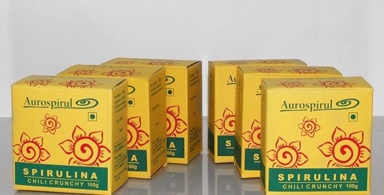 Aurospirul Sun dried spirulina with chili crunchy 6-pack - 6 x 100g