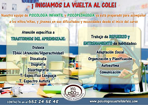 Refuerzo escolar psicólogo infantil Castelldefels