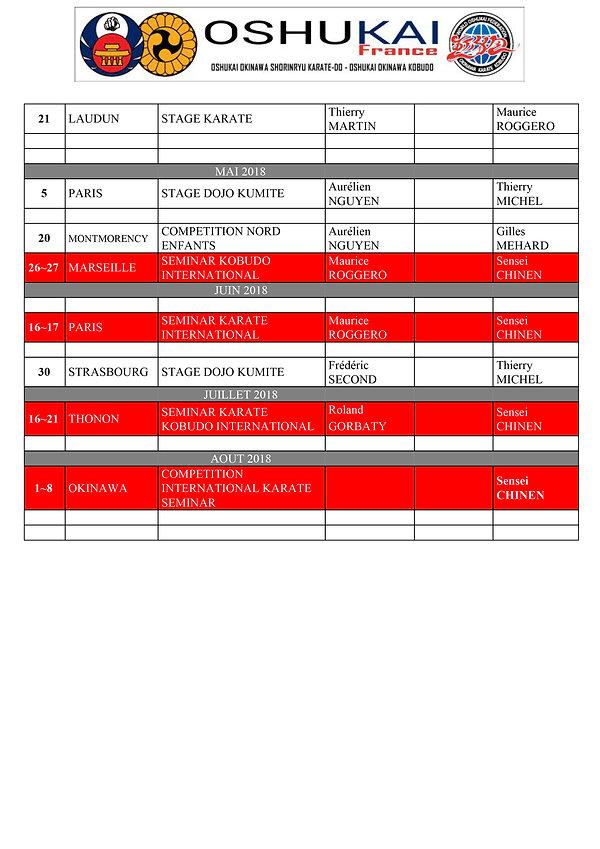 calendrier Oshukai-Avenirs