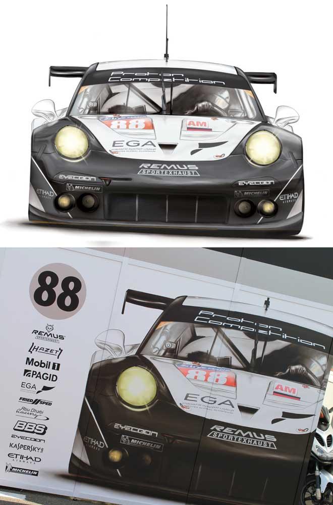 Illustration for Lemans Porsche team