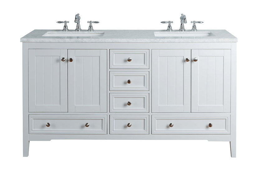 "New Yorker 60"" White Double Sink Vanity"
