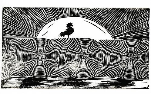 Rooster Sunrise Original Print