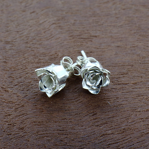 Fine Silver two layer rose stud earrings