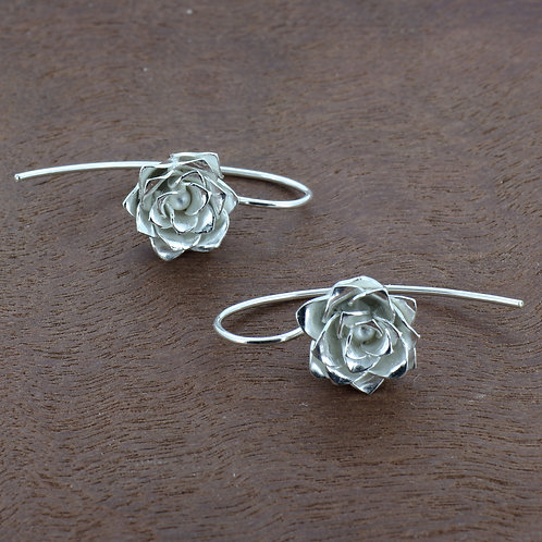 Fine Silver three layer rose dangle earrings