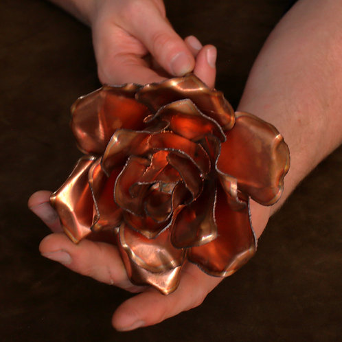 Large hand formed 3-layer copper rose