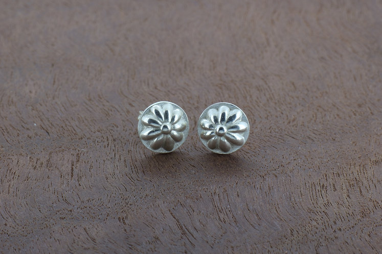 Sterling silver flower, small, cute, round, handmade stud