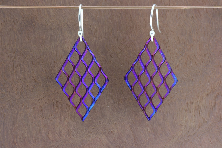 Titanium large mesh, vibrant, blue/purple, handmade, diamond dangle