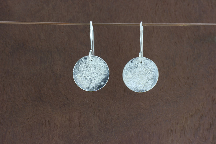 Sterling silver sandy flat, handmade disc dangle earrings