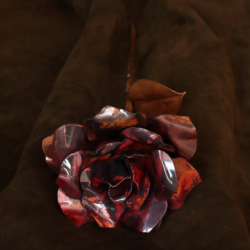 Red oxidised large hand formed 3-layer copper rose with leaf