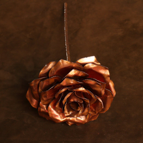 Large hand formed 6-layer copper rose