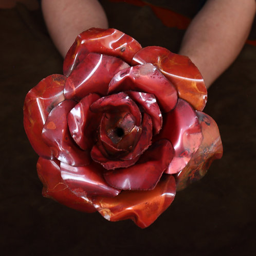Red oxidised large hand formed 3-layer copper rose