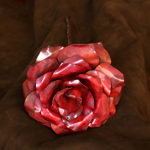 Red oxidised large hand formed 5-layer copper rose