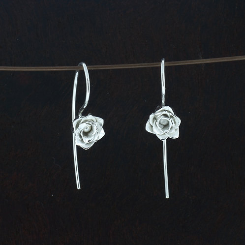 Fine Silver two layer rose dangle earrings