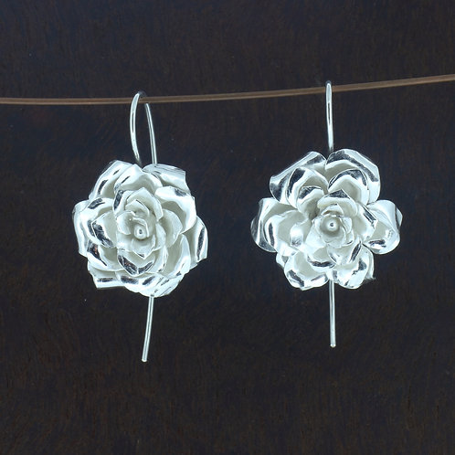 Fine Silver four layer rose dangle earrings