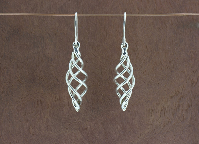 Sterling silver elegant, beautiful, medium size, handmade basket twist dangle