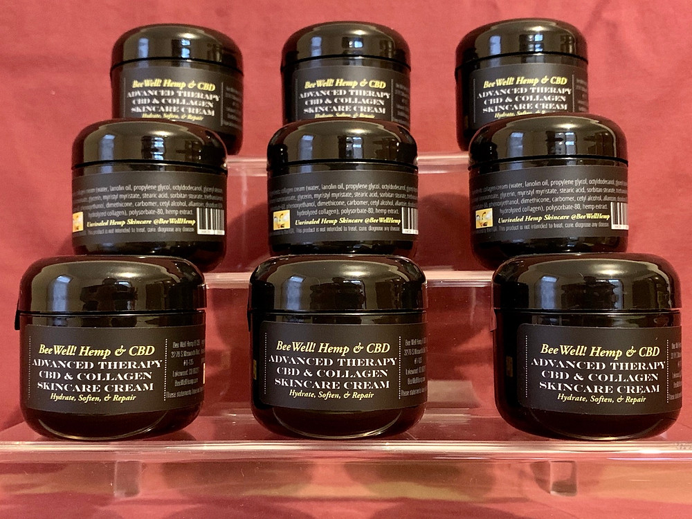 Bee Well Hemp Advanced Therapy CBD Plus Collagen Skin Care Cream available at BeeWellHemp.com